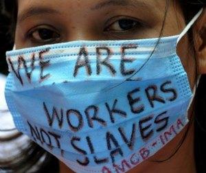 Empregada filipina protestando em HK